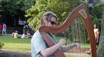 Jo playing at Maryland House rest area, Route 95, MD